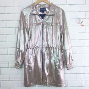 GUESS Haze Longline Jacket Medium Metallic